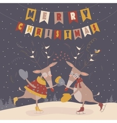 Cute reindeers dancing vector image vector image