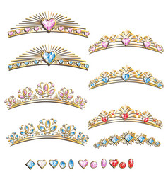 Diadem princess set vector