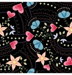 Flowers and hearts pattern vintage on black vector image