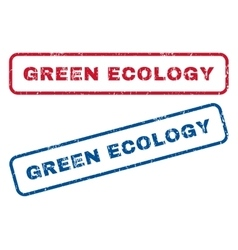 Green ecology rubber stamps vector