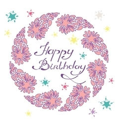 happy birthday lettering in a hand drawn frame vector image vector image