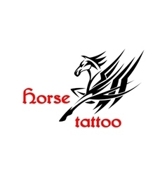 Horse or pegasus with tribal ornamental wings vector