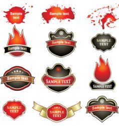 labels flames splatters vector image vector image