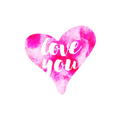 Pink watercolour hearts love you on white vector