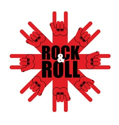 Rock and roll logo Star of rock hand sign Template vector image