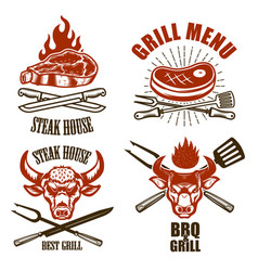 set of steak house emblem templates bbq grill menu vector image