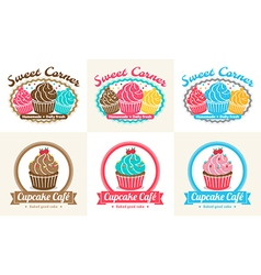 Set of sweet cupcake bakery badge label vector