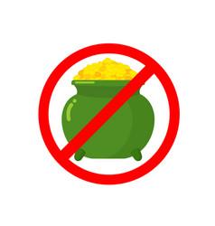 Stop leprechaun gold treasure pot of golden coins vector