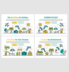 summer holiday - four rectangular site header vector image vector image