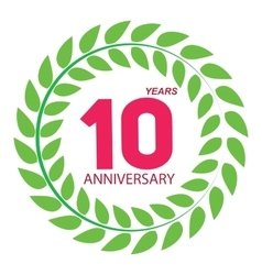 Template logo 10 anniversary in laurel wreath vector
