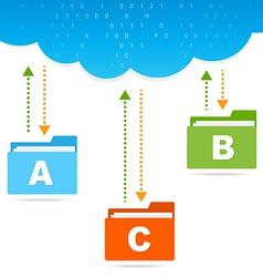 Transfer files cloud presentation vector