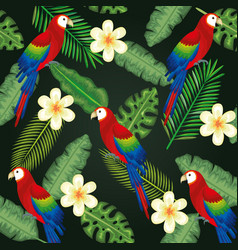 Tropical and exotic garden with parrot vector