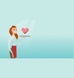 waitress carrying a tray with a heart vector image vector image