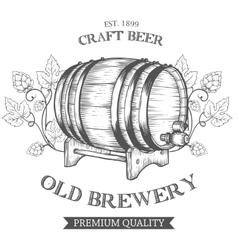 Wooden craft beer oktoberfest old brewery vector image vector image
