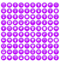 100 spring holidays icons set purple vector