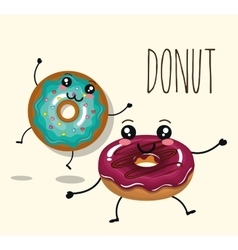Delicious donut comic character vector