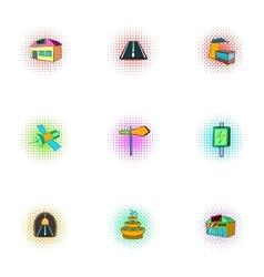 City public buildings icons set pop-art style vector