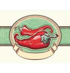 Vintage label with Red hot peppers for text vector image