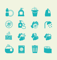 Hygiene and cleaning icons washing antiseptic vector