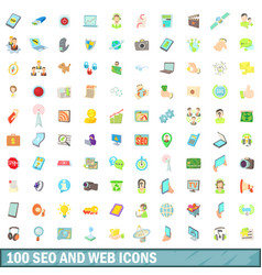 100 seo and web icons set cartoon style vector