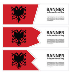 albania flag banners collection independence day vector image