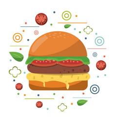 Fast food hamburger cheese tomato lettuce poster vector