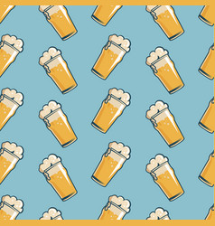 Beer glass seamless pattern hand drawn retro vector