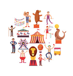 Circus carnival flat icons in circle design vector