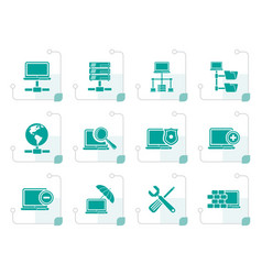 Stylized network server and hosting icons vector