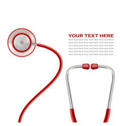 Red stethoscope isolated on a white background vector