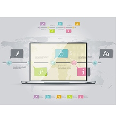 Infographic design template with laptop vector