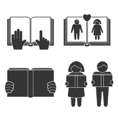 Book reading icons set vector