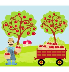 Farmer in the orchard vector