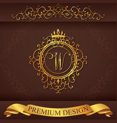 Letter w luxury logo template flourishes vector