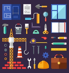 Building set of icons and in flat design style vector