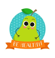 Pear cute fruit character bagde vector