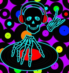 Music flyer or background with dj skull vector