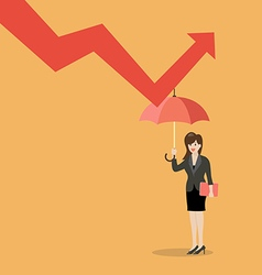 Business woman with umbrella protecting from graph vector