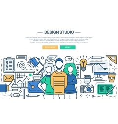 Design studio - line design website banner vector