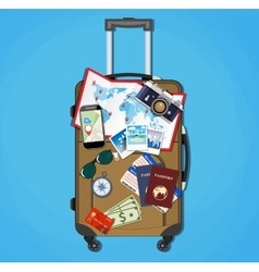 Tourist equipment on brown travel suitcase bag vector