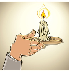 Hand with candle vector