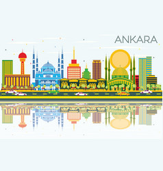 Ankara skyline with color buildings blue sky and vector