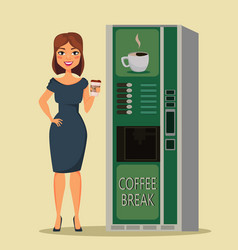 Business woman standing with cup of coffee close vector