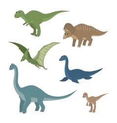 Cartoon set diplodocus plesiosaur pterosaur vector image