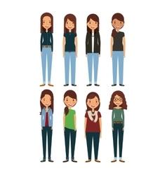 Cartoon young womens vector