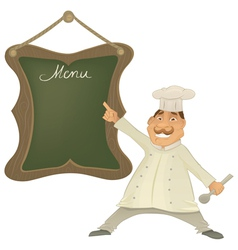 chef with menu character vector image vector image