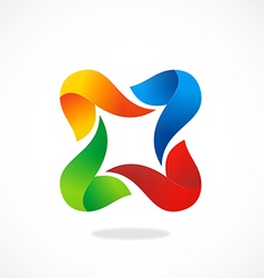 circle 3D shape colorful abstract logo vector image