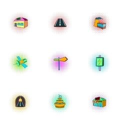 City public buildings icons set pop-art style vector