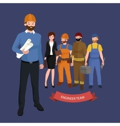Civil engineer architect and construction workers vector image