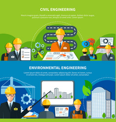 Civil engineering banners set vector